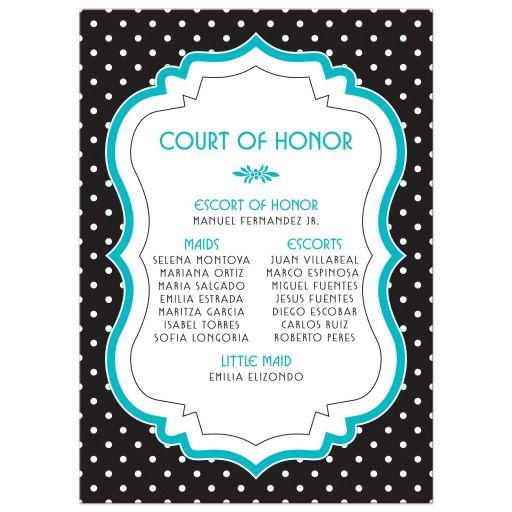 Chic black, white, turquoise polka dot Quinceañera birthday invitation back
