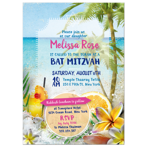 Cocktails Floral Beach Party Bat Mitzvah Invitation