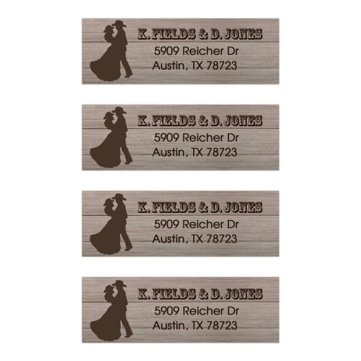 Country Western Rustic Wedding Dance Couple Address Labels