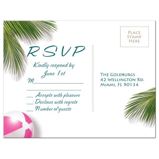 Pink Beach Flamingo Bat Mitzvah RSVP