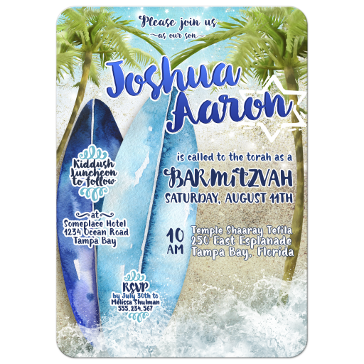 Surfboard Beach themed Bar Mitzvah Invitation
