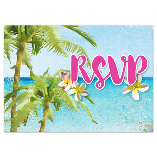 Floral Beach Party Bat Mitzvah RSVP Card