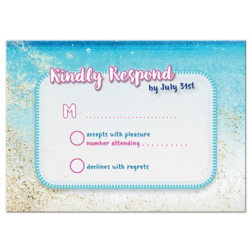 Sandy beach blue ocean RSVP card