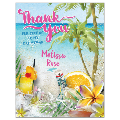 Summer Vibe Beach Bat Mitzvah Thank You Card