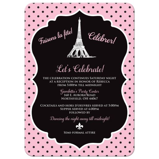 Black, white, and pink Night in Paris themed Bat Mitzvah invites with Eiffel Tower, fleur-de-lis, and Star of David.