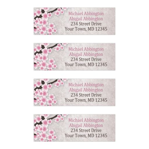 Address Labels - Rustic Pink Cherry Blossom