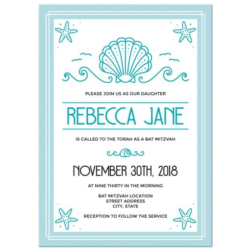 Beach bat mitzvah invitations with clam seashell