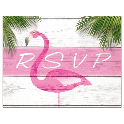 Pink Flamingo Beachball Beach Mitzvah RSVP Card