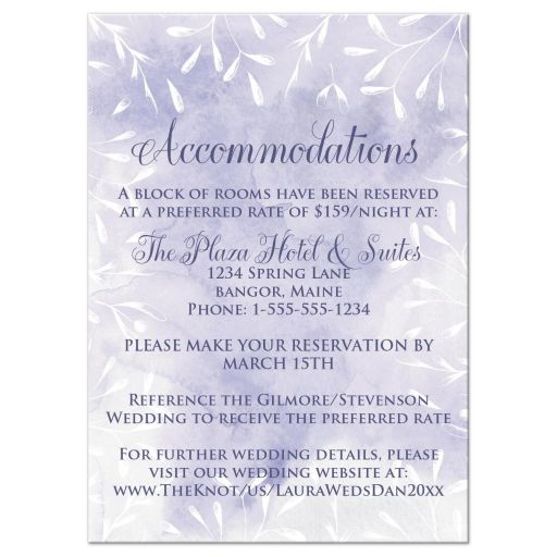 Purple and white leaves, berries, foliage watercolor wedding reception and accommodations enclosure card insert.