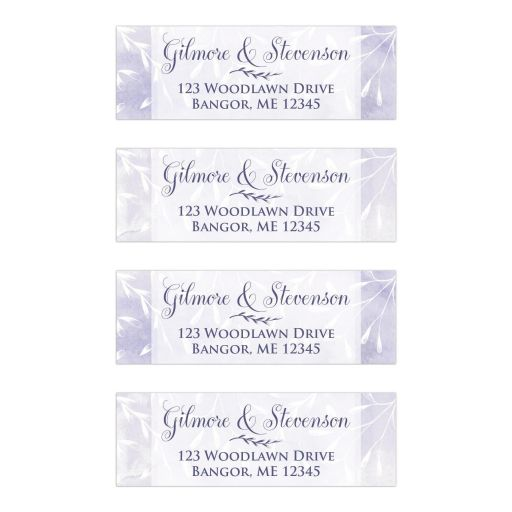 Personalized purple and white leaves, berries, foliage watercolor wedding return address mailing labels