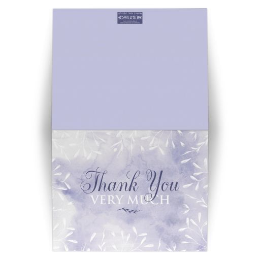 Purple and white leaves, berries, stems, branches, foliage watercolor wedding thank you card.
