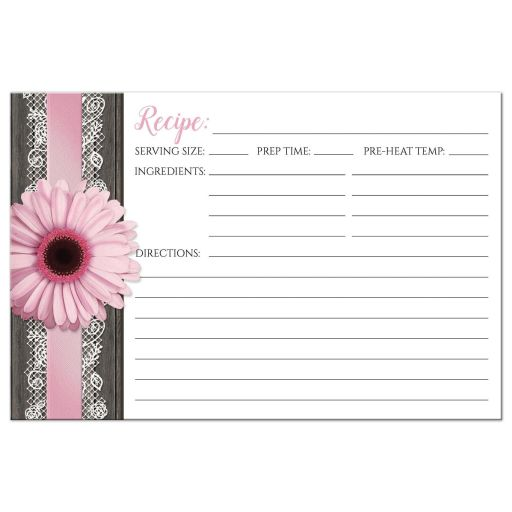 Recipe Cards - Pink Daisy Lace Rustic Wood
