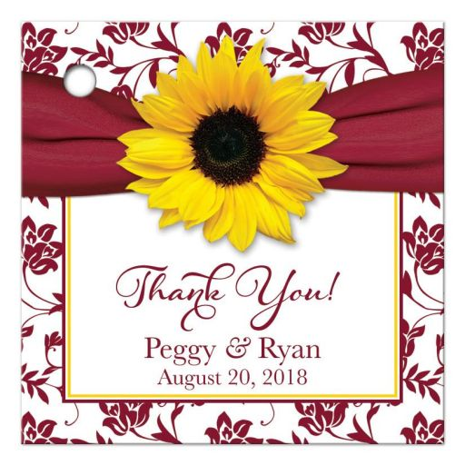 Yellow sunflower flower, burgundy and white floral damask and ribbon personalized wedding favor tag or gift tag front