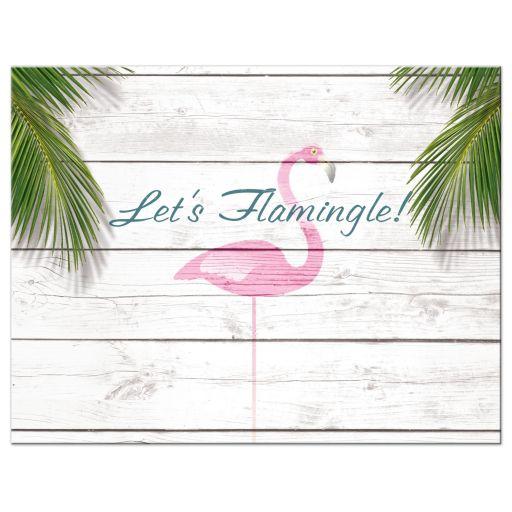 Pink Beach Flamingo Bat Mitzvah Reception Invitations