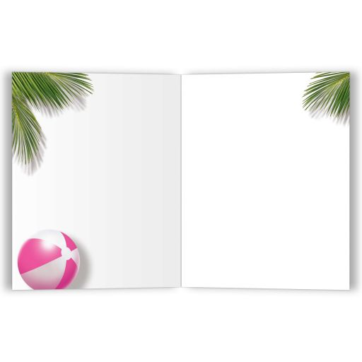 Pink Beach Flamingo Thank You Cards