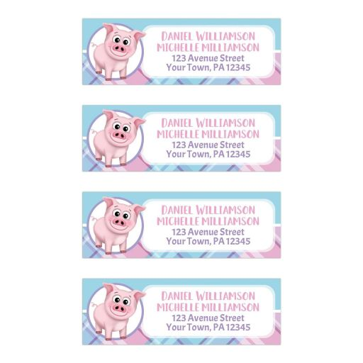 Address Labels - Happy Pig Pink Blue and Purple Plaid