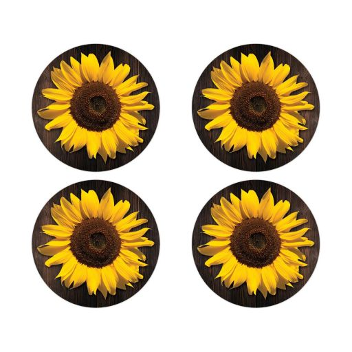 Round bright yellow gold sunflower on dark brown wood envelope seals or wedding favor stickers.