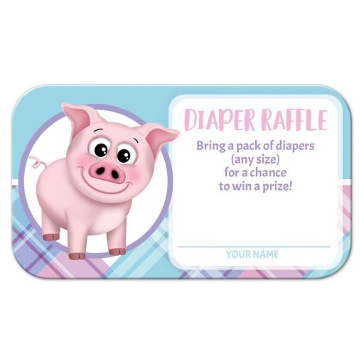 Diaper Raffle Cards - Happy Pig Pink Blue and Purple Plaid