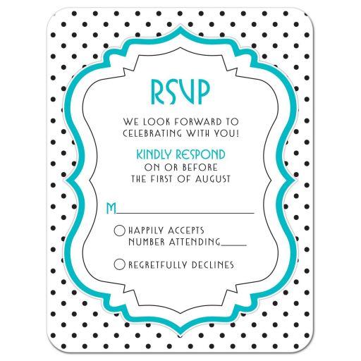 Chic black, white, turquoise polka dot Bat Mitzvah RSVP card front