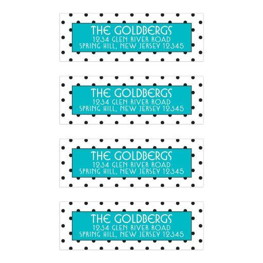 Chic black, white, turquoise polka dot Bat Mitzvah address labels