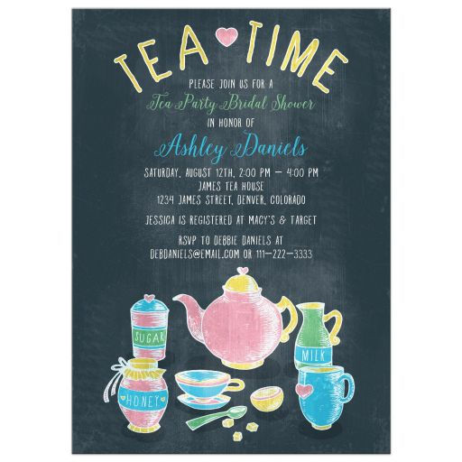 Tea Party Bridal Shower Invitation | Tea Time Colorful Chalkboard