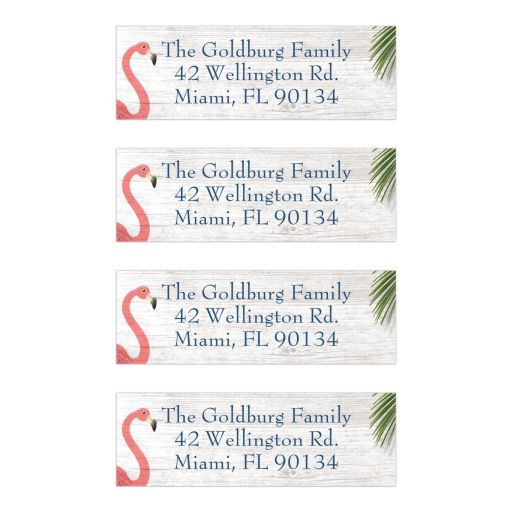 Coral Flamingos Palm Leaves Beach Bat Mitzvah Personalized Address Labels