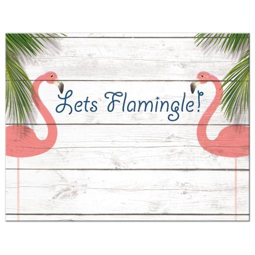 Coral Flamingo Bat Mitzvah Reception Invitations