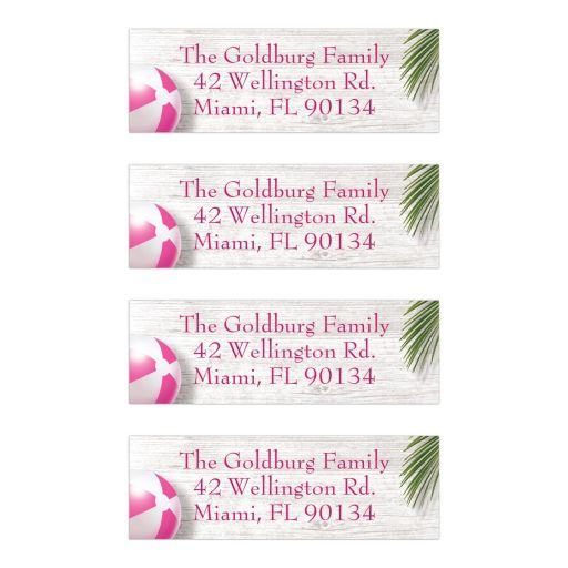 Pink Beachball Beach Mitzvah Personalized Mailing Labels