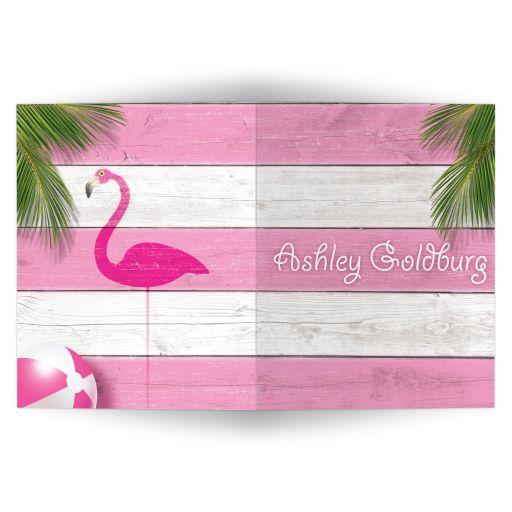 Cute Pink Flamingo Thank You Card
