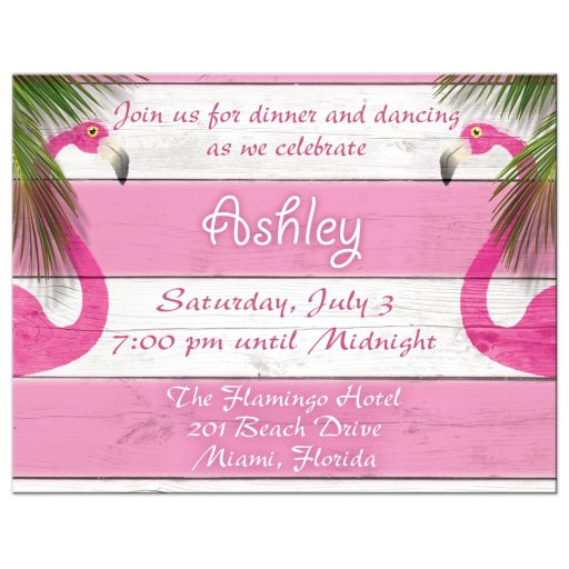 Pink Flamingo Beachball Beach Mitzvah Reception card