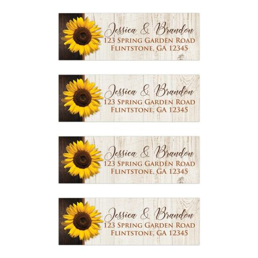 ​​Personalized brown, tan, and yellow gold Sunflower on simulated wood grain pattern wedding return address labels.