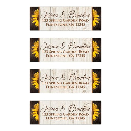 ​Personalized brown, tan, and yellow gold Sunflowers on simulated wood grain pattern wedding return address labels.