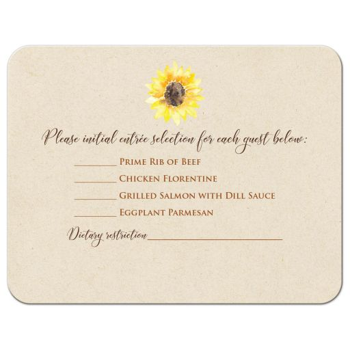 ​Sunflower and wood grain watercolor wedding RSVP enclosure card insert with a brown watercolor heart.