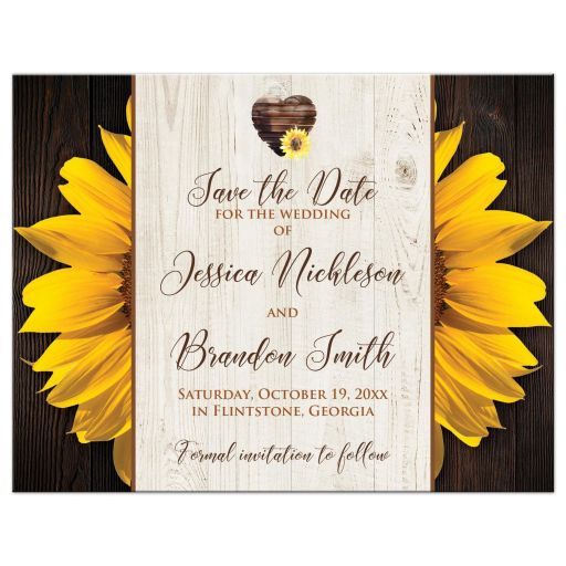 ​Yellow gold sunflowers and dark brown wood grain wedding save the date card with a watercolor heart.