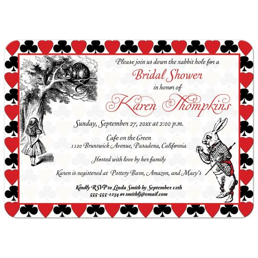 Alice in Wonderland tea party bridal shower invitation with the mad hatter and the white rabbit.