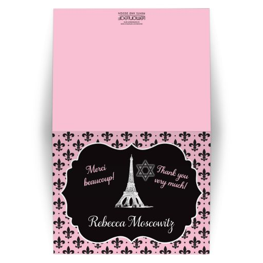 Black, white, and pink Night in Paris themed Bat Mitzvah thank you note card with Eiffel Tower, fleur-de-lis, polka dots, and Star of David.