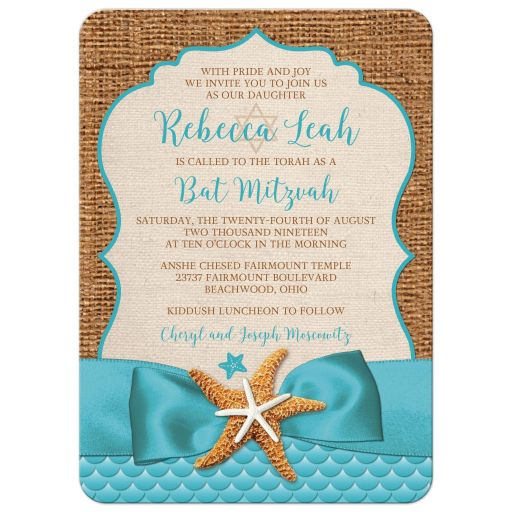 Rustic turquoise blue beach theme Bat Mitzvah invitation with burlap, ribbon, bow, starfish, sea shells, clam shell, and Star of David.