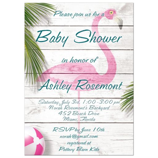 Pink Flamingo Baby Shower Invitations
