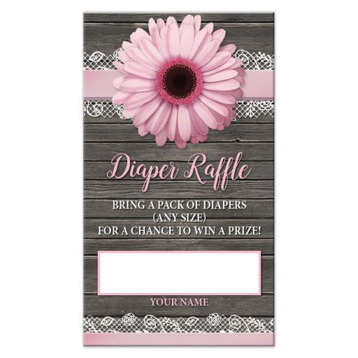 Diaper Raffle Cards - Pink Daisy Lace Rustic Wood