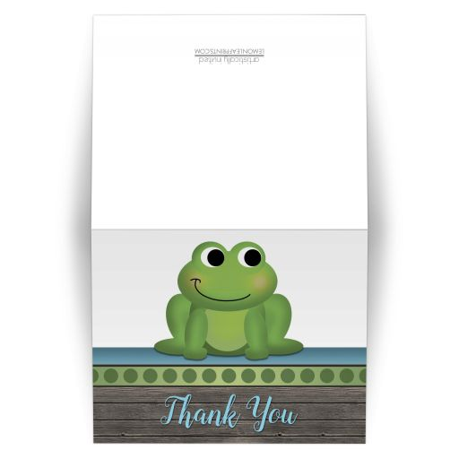 Thank You Cards - Cute Frog Green Rustic Brown Wood
