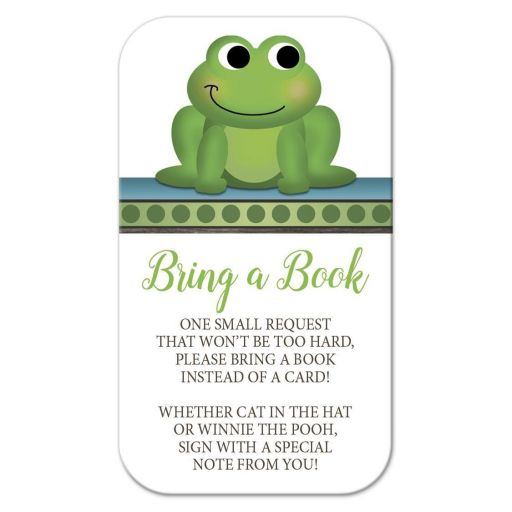 Bring a Book Cards - Cute Frog Green Rustic Brown