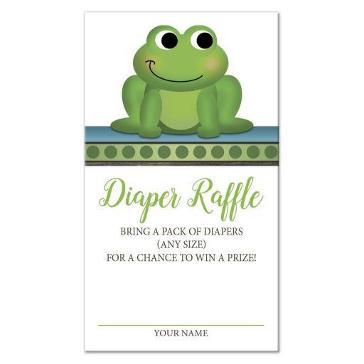 Diaper Raffle Cards - Cute Frog Green Rustic Brown