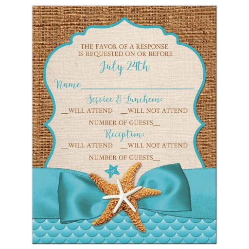 Rustic Starfish Ribbon Burlap Beach Bat Mitzvah RSVP Card