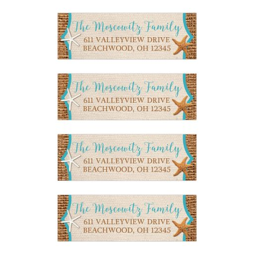 Personalized rustic beach theme address labels with brown burlap and tan linen look background with turquoise or teal blue trim with two star fish.
