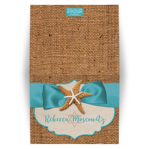 Personalized rustic turquoise blue beach theme Bat Mitzvah thank you card with burlap, ribbon, bow, starfish, sea shells, clam shell, and Star of David.