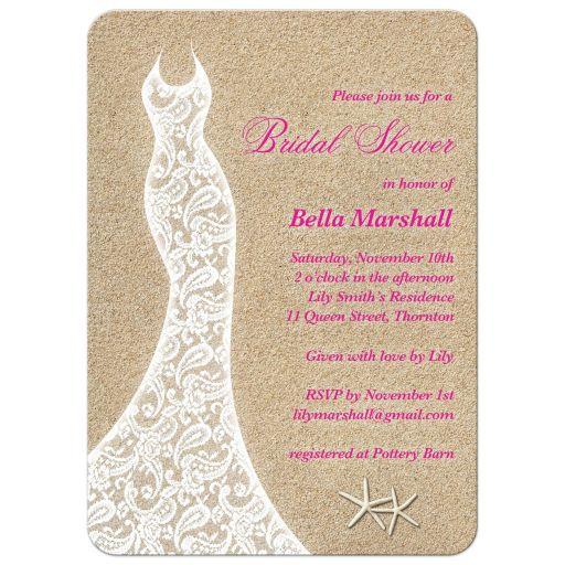 Pink Beach Bridal Shower Invitation