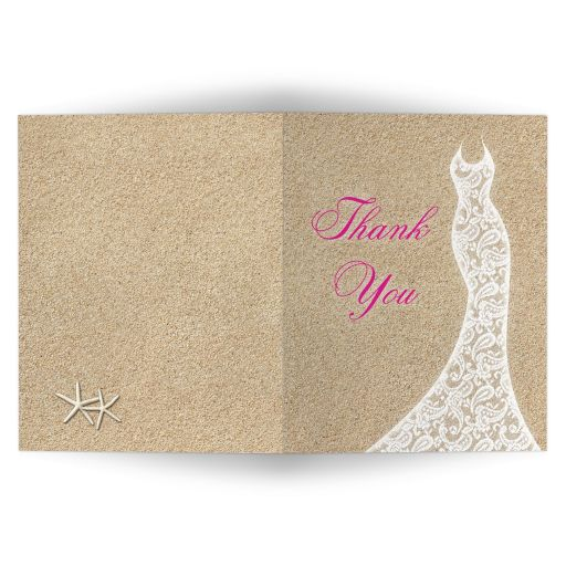 Beautiful Beach Bridal Shower Thank You Card with bright pink type