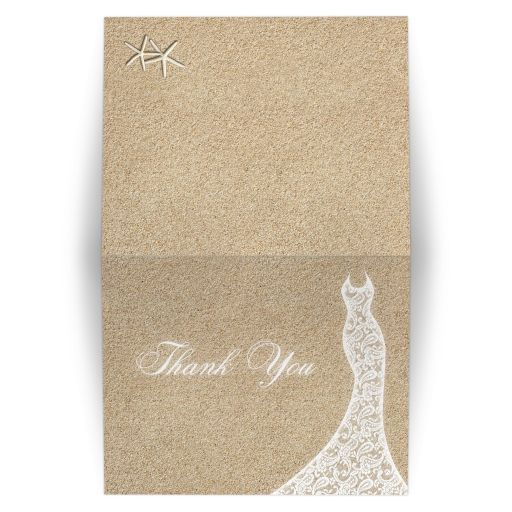 Lacy Wedding Dress Beach Bridal Shower Thank You Card