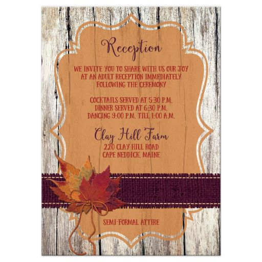 Rustic orange and purple wood and burlap autumn leaves wedding reception and accommodations enclosure card insert with twine bow.