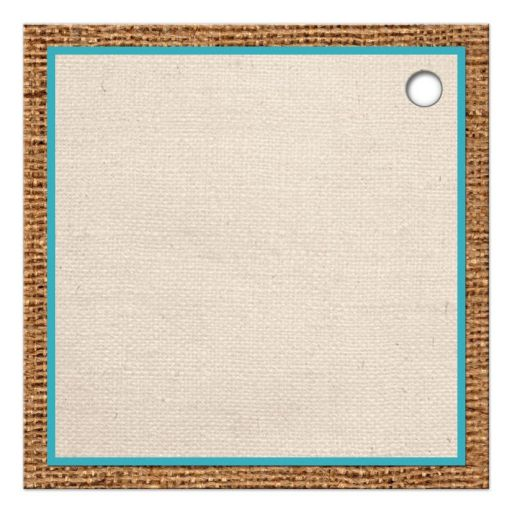 Square, turquoise blue beach theme Bat Mitzvah party favor tags with rustic brown burlap, linen, ribbon, bow, two star fish with a pre-drilled hole.
